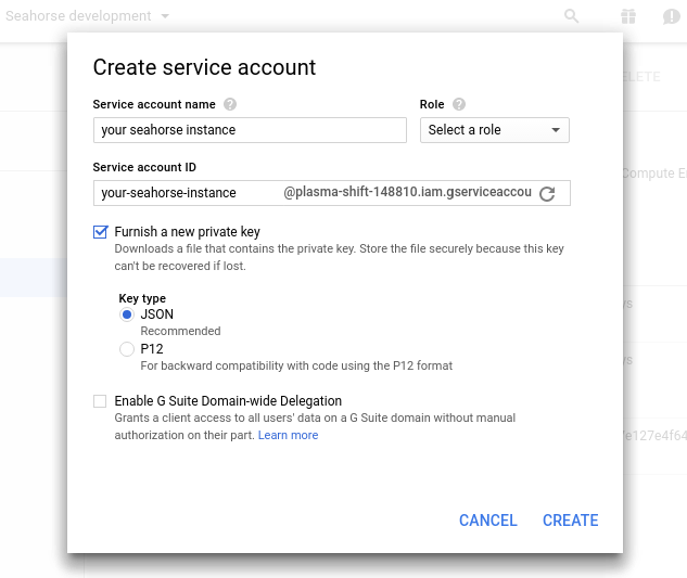 Create Service Account Form